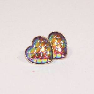 Heart shaped faux druzy mermaid scale earrings